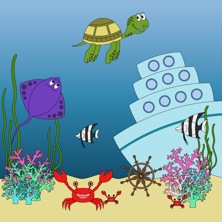 water chute: Underwater animals and fish with names cartoon educational illustration