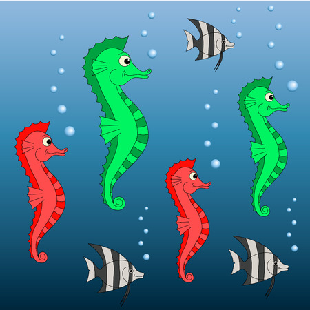 Vector green and red sea horses with fish