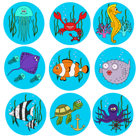 Set of cute  sea animals on white background 向量圖像