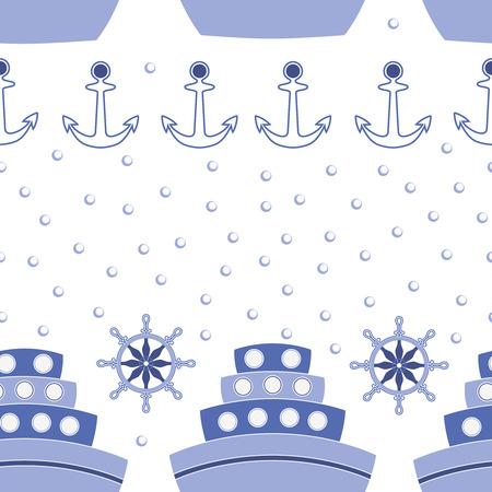 sailing ships: Vector seamless pattern with blue sailing ships