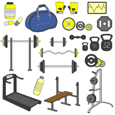 racecourse: Fitness sport gym exercise equipment workout set illustration for colorful template Illustration