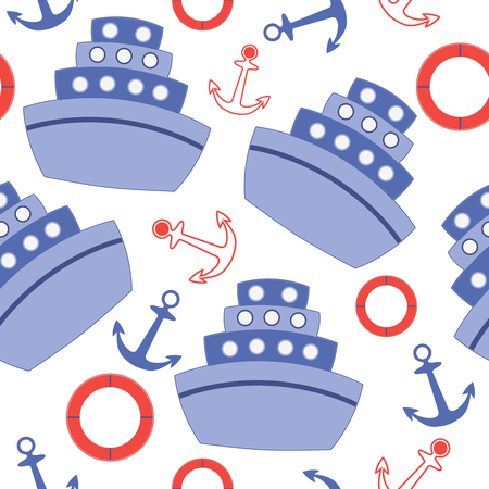 seamless pattern with sheeps anchors and ring buoy
