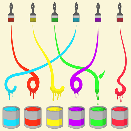 sic: Painting Brush Sic Colored dyes Vector Illustration