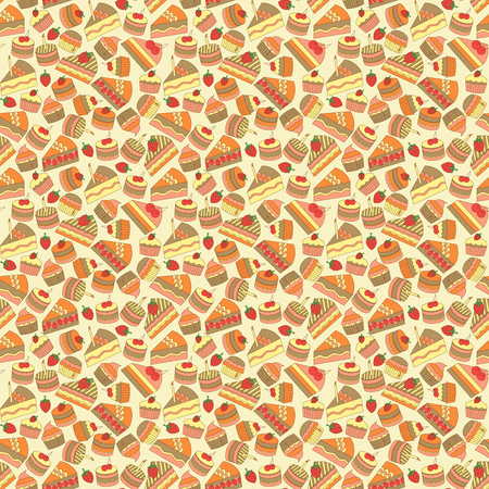 dough: colorful seamless cake and bakery pattern, vector illustration Illustration