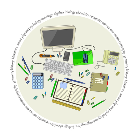 office accessories: stationery stamp with set of office accessories and supplies Illustration