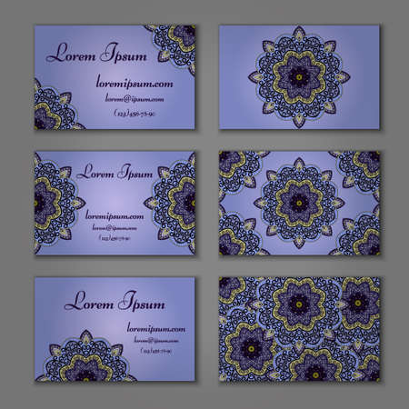 model motive: visiting card and business card set with mandala. Abstract oriental design layout. Front page and back page. Islam, Arabic, Indian, ottoman motifs.