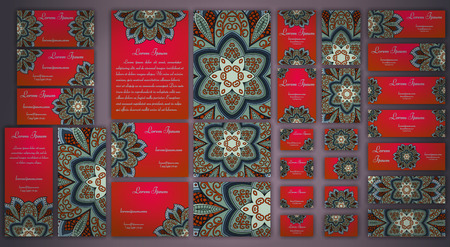 Vector visiting card set template. Floral mandala pattern and ornaments. Oriental design Layout. Islam, Arabic, Indian, ottoman motifs. Front page and back page. Çizim