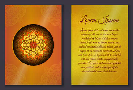 used ornament: Card set with mandala ornament. Can be used for invitation and greetings.islam, arabic, indian motif.