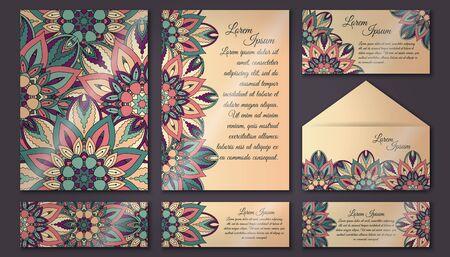set vector tarjeta de invitación de la vendimia. modelo de la mandala floral y adornos. Disposición diseño oriental. Islam, el árabe, otomana, motivos indígenas. portada y contraportada. Foto de archivo