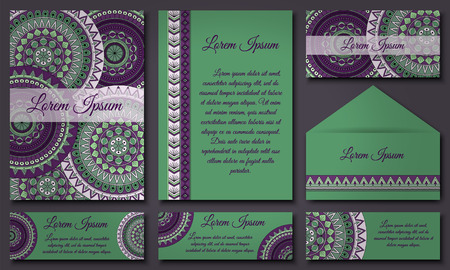 style template: invitations and banners template set. Floral mandala pattern and ornaments. Oriental design Layout. Asian, Arabic, Indian, ottoman motifs.