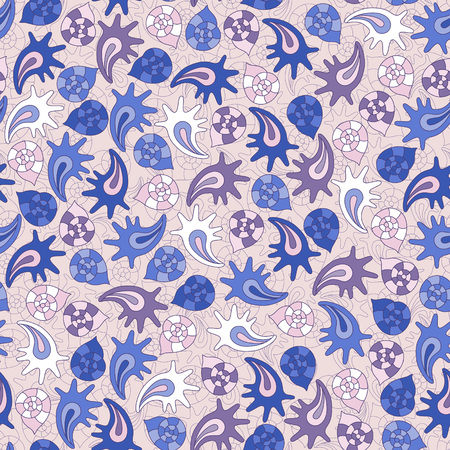 cockle: summer seamless pattern with colorful shells, can be used for textile,background, wrapping Illustration