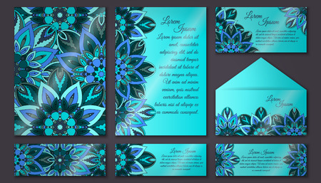vector vector vintage invitation card set floral mandala pattern and ornaments oriental design layout islam arabic indian ottoman motifs front page