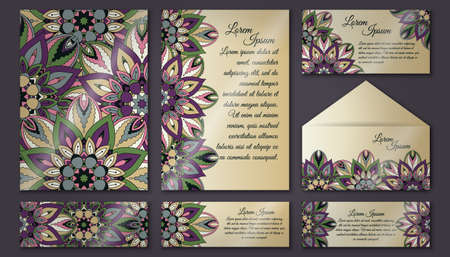 floral ornaments: Vector vintage invitation card set. Floral mandala pattern and ornaments. Oriental design Layout. Islam, Arabic, Indian, ottoman motifs. Front page and back page.