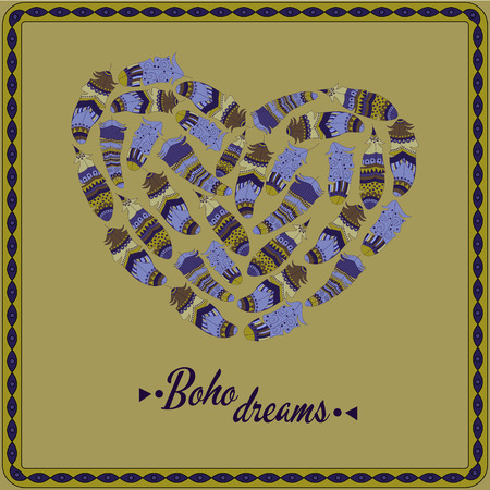 gypsy: Bohemian style poster with gypsy colorful feathers, arranged in heart Illustration