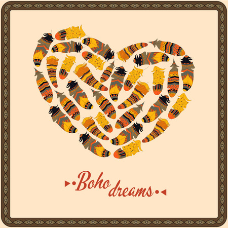 bohemian: Bohemian style poster with gypsy colorful feathers, arranged in heart Illustration