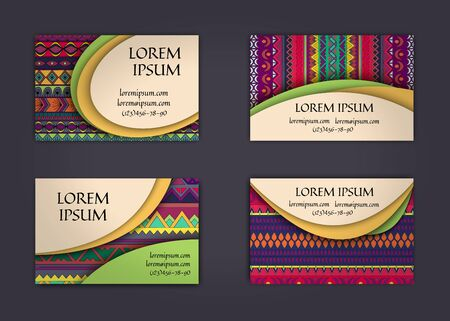 business card or visiting card template with boho style pattern background. Abstract wavy layout with ethnic elements. Illustration