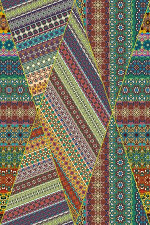 ottoman fabric: Colorful vintage seamless pattern with floral and mandala elements.Hand drawn background. Can be used for fabric, wallpaper, tile, wrapping, covers and carpet. Islam, Arabic, Indian, ottoman motifs.