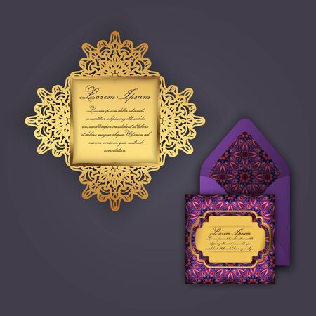 Wedding invitation or greeting card with vintage floral ornament. Paper lace envelope template, mock-up for laser cutting. Vector illustration. Illustration