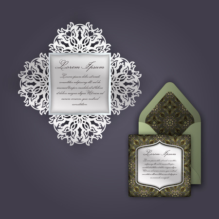 cutouts: Wedding invitation or greeting card with vintage floral ornament. Paper lace envelope template, mock-up for laser cutting. Vector illustration. Illustration