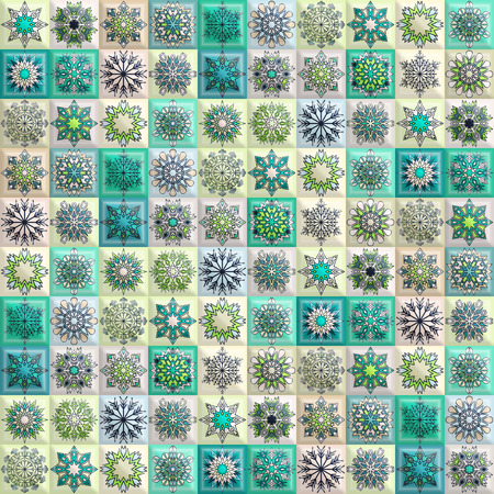 Vintage seamless pattern with tile patchwork elements. Winter ornament with snowflakes. Can be used for fabric, wallpaper, tile, wrapping, covers and carpet.