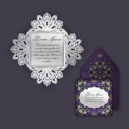 Wedding invitation or greeting card with vintage floral ornament. Paper lace envelope template, mock-up for laser cutting. Vector illustration. Illustration