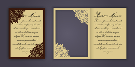 laser cutting: Wedding invitation or greeting card with vintage lace ornament. Mock-up for laser cutting. Vector illustration