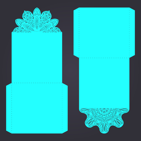 Abstract wedding cutout invitation template. Suitable for lasercutting. Lace folds. Can be used as envelope or cover.