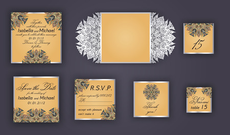 lazer: Vintage wedding invitation design set include Invitation card, Save the date, RSVP card, Thank you card, Table number, Place cards, Paper lace envelope. Wedding invitation mock-up for laser cutting.