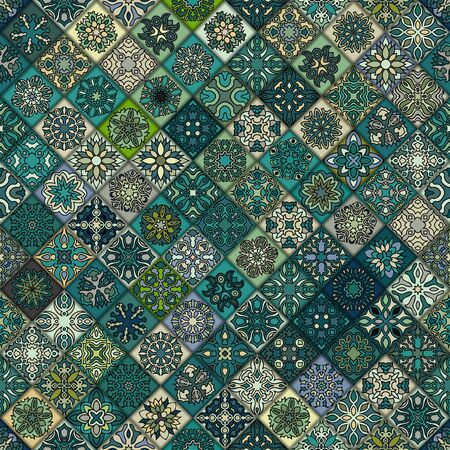 ottoman fabric: Colorful vintage seamless pattern with floral and mandala elements.background. Can be used for fabric, wallpaper, tile, wrapping, covers and carpet. Islam, Arabic, Indian, ottoman motifs. Illustration