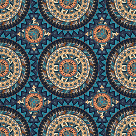 Ornate floral seamless texture, endless pattern with vintage mandala elements. Can be used for wallpaper, pattern fills, web page background, surface textures.Islam, Arabic, Indian, ottoman motifs. Illustration