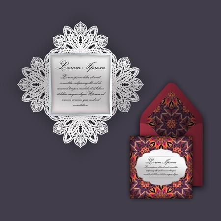 Wedding invitation or greeting card with vintage floral ornament. Paper lace envelope template, mock-up for laser cutting. illustration. Illustration