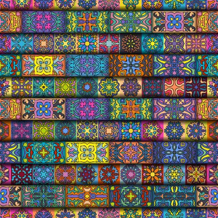 Colorful vintage seamless pattern with floral and mandala elements. background. Can be used for fabric, wallpaper, tile, wrapping, covers and carpet. Islam, Arabic, Indian, ottoman motifs.