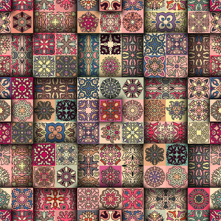 ottoman fabric: Colorful vintage seamless pattern with floral and mandala elements. background. Can be used for fabric, wallpaper, tile, wrapping, covers and carpet. Islam, Arabic, Indian, ottoman motifs.