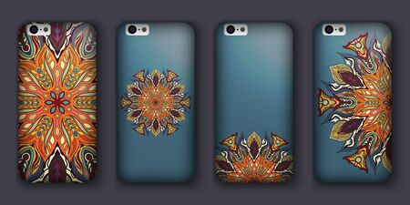 Phone cover collection, boho style pattern. Vector background. Vintage decorative elements. Hand drawn background. Islam, arabic, indian, ottoman motifs