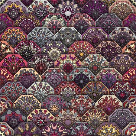 Colorful seamless vintage avec floral et mandala elements.Hand fond dessiné. Peut être utilisé pour tissu, papier peint, carrelage, emballage, couvertures et tapis. Islam, arabe, indienne, motifs ottomanes.