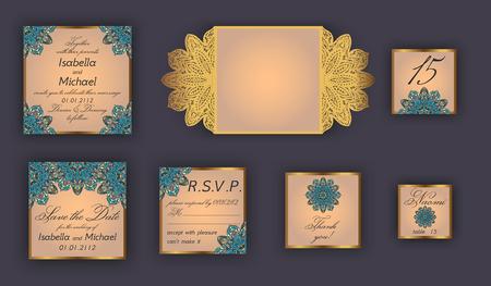 rsvp: Vintage wedding invitation design set include Invitation card, Save the date, RSVP card, Thank you card, Table number, Place cards, Paper lace envelope. Wedding invitation mock-up for laser cutting.