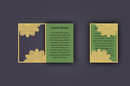 carved letters: Wedding invitation or greeting card with vintage lace ornament. Mock-up for laser cutting. Vector illustration
