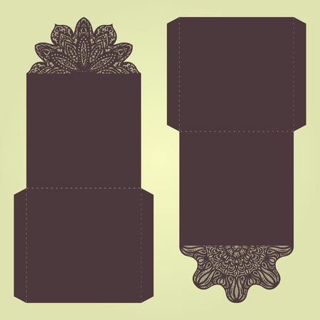 lasercutting: Abstract wedding cutout invitation template. Suitable for lasercutting. Lace folds. Can be used as envelope or cover.