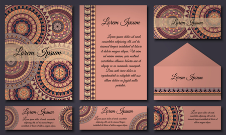 Set of invitation templates with colorful tribal mandalas. Ethnic wedding and invitation cards. Vector illustration. Illustration
