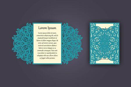 vintage: Wedding invitation or greeting card with vintage lace ornament. Mock-up for laser cutting. Vector illustration