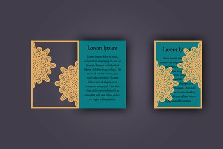 carved letters: Wedding invitation or greeting card with vintage lace ornament. Mock-up for laser cutting. illustration Illustration