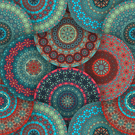 Ornate floral seamless texture, endless pattern with vintage mandala elements. Can be used for wallpaper, pattern fills, web page background, surface textures.Arabic, Indian, ottoman motifs. Stok Fotoğraf - 76151486