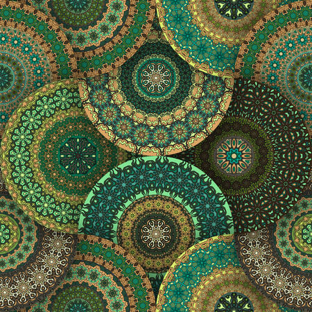 endlos: Ornate floral seamless texture, endless pattern with vintage mandala elements.