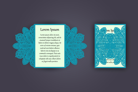 carved letters: Wedding invitation or greeting card with vintage lace ornament. Mock-up for laser cutting.