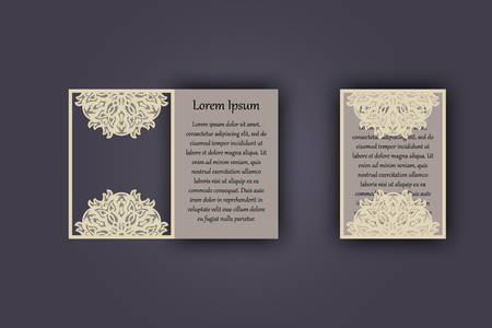 Wedding invitation or greeting card with vintage lace ornament. Mock-up for laser cutting. Vector illustration Banco de Imagens - 75434853