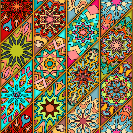 Colorful vintage seamless pattern with floral and mandala elements.Hand drawn pattern. Can be used for fabric, wallpaper, tile, wrapping, covers and carpet. Islam, Arabic, Indian, ottoman motifs.