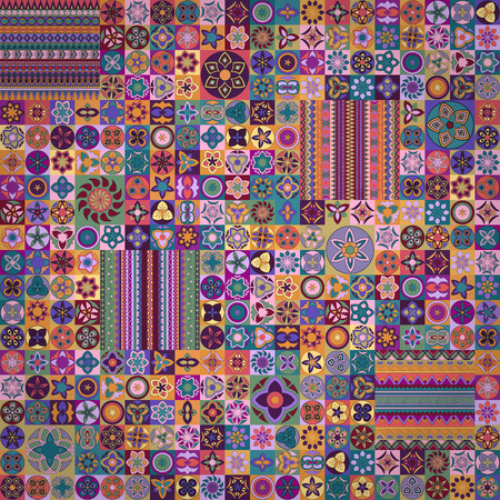Colorful vintage pattern with floral and mandala elements, can be used for fabric, wallpaper, tile, wrapping, covers and carpet. 矢量图像