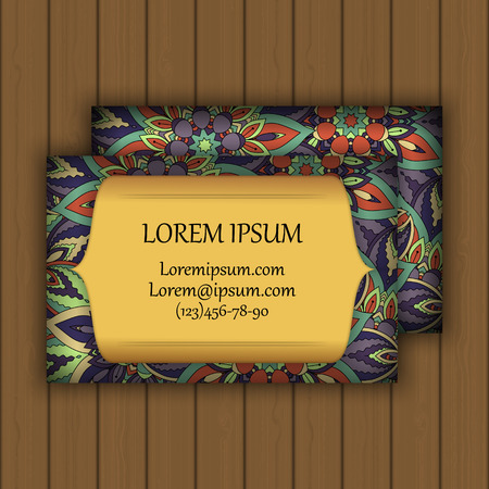 oriental vector: Vector vintage visiting or business card set. Floral mandala pattern and ornaments. Oriental design Layout.