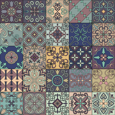 Seamless pattern with portuguese tiles in talavera style. Azulejo, moroccan, mexican ornaments 矢量图像