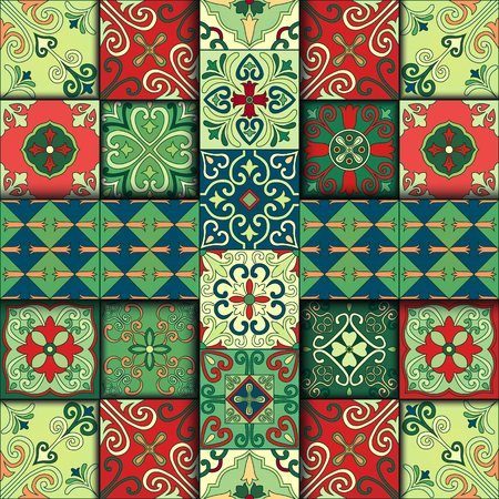 Seamless pattern with portuguese tiles in talavera style. Azulejo, moroccan, mexican ornaments 向量圖像